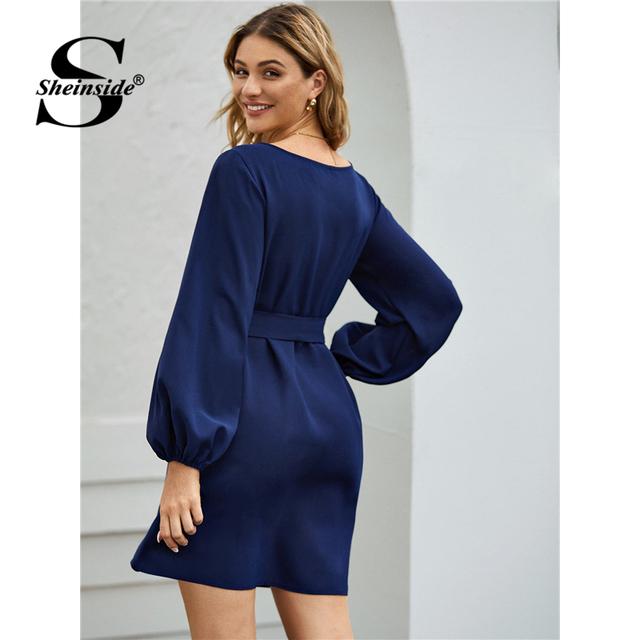 Casual Navy Lantern Sleeve Straight Dress Women 2020 Spring