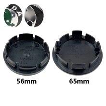 4 unids/lote 56mm 65mm negro coche ecológico tapas de centro de cubo de rueda para Skoda Octavia Fabia Superb rápido Yeti 1J0601171 3B7601171