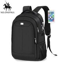 NO.ONEPAUL Mens School Travel rucksack Laptop Backpack Man Casual Brand USB Inte