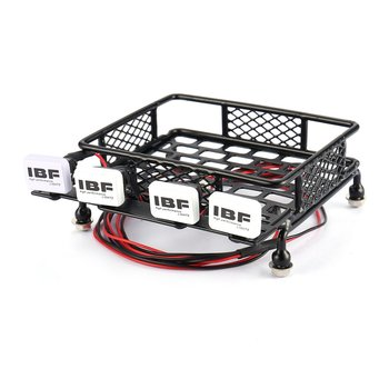 Universal Big Roof Rack Luggage Carrier And 4 Square LED Lights RC Car Rock Crawler For AXIAL SCX10 RC4WD CC01 image