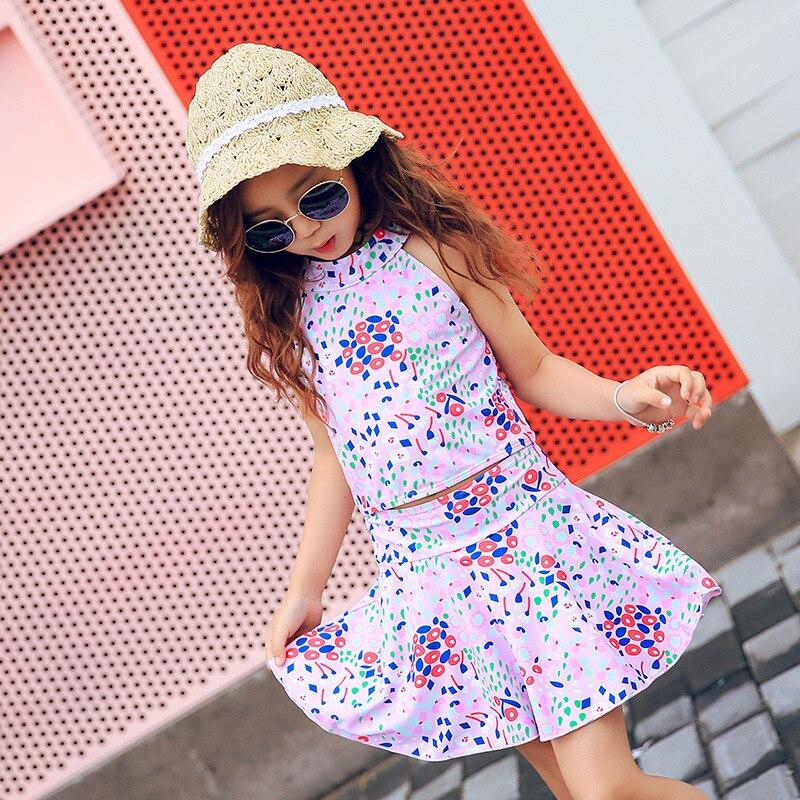 Haiyishan New Style Floral-Print Split Skirt-Big Boy Children GIRL'S Students South Korea Swimsuit