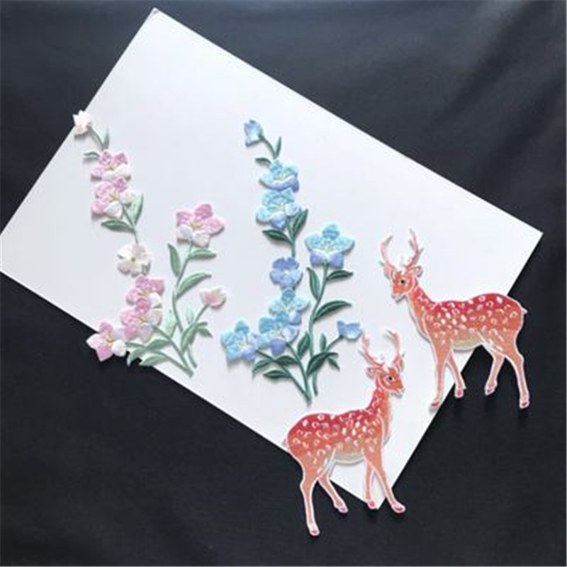 2pcs Embroidered Sika Deer Embroidered Cloth Stickers DIY Creative Patch Stickers Clothes Skirt Decoration Accessories