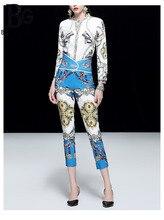 Baogarret 2019 Runway Elegant Autumn Career Clothing Set Womens Long Sleeve Blue Print Blouse + Girdle Pants Fashion Twinset