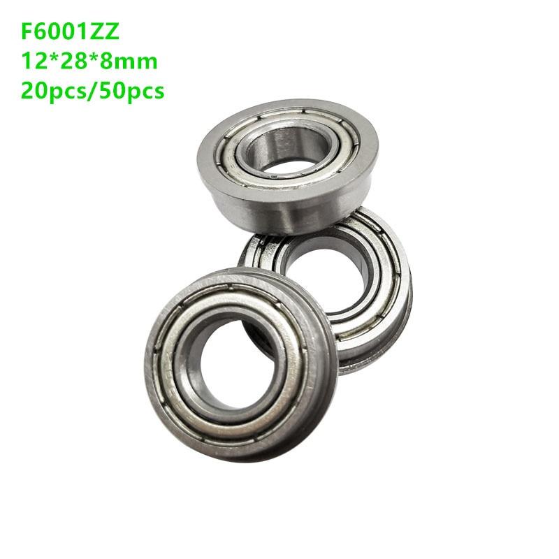 20pcs/50pcs F6001ZZ Flanged deep groove ball bearing F6001 F6001-2Z miniature shielded flange ball bearings 12*28*8 mm