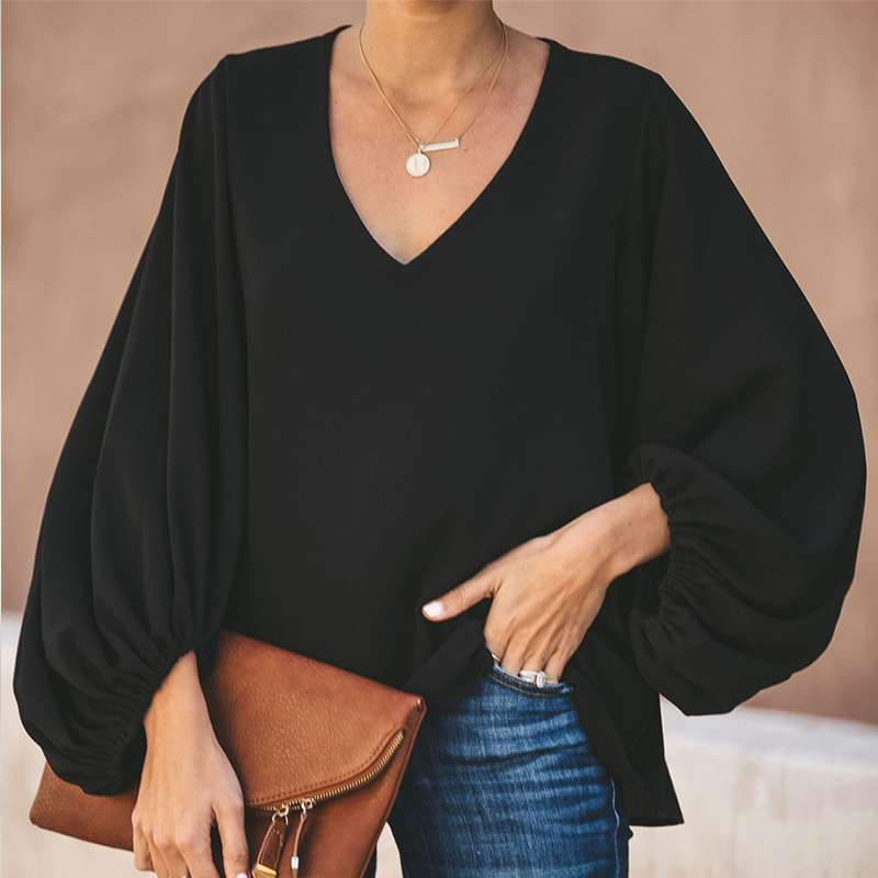 Women's Chiffon V-neck Black Blouse Tops Long Lantern Sleeve Solid Loose Blouses Woman 2020 Summer Office Lady Clothes Women