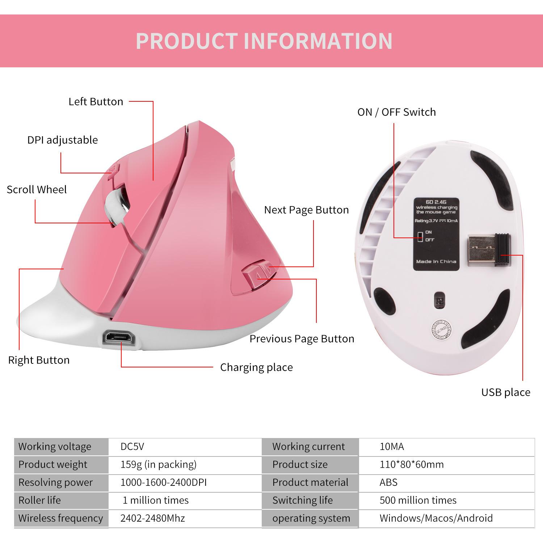 Мышь Вертикальная аккумуляторная беспроводная 24 ГГц 1600dpi