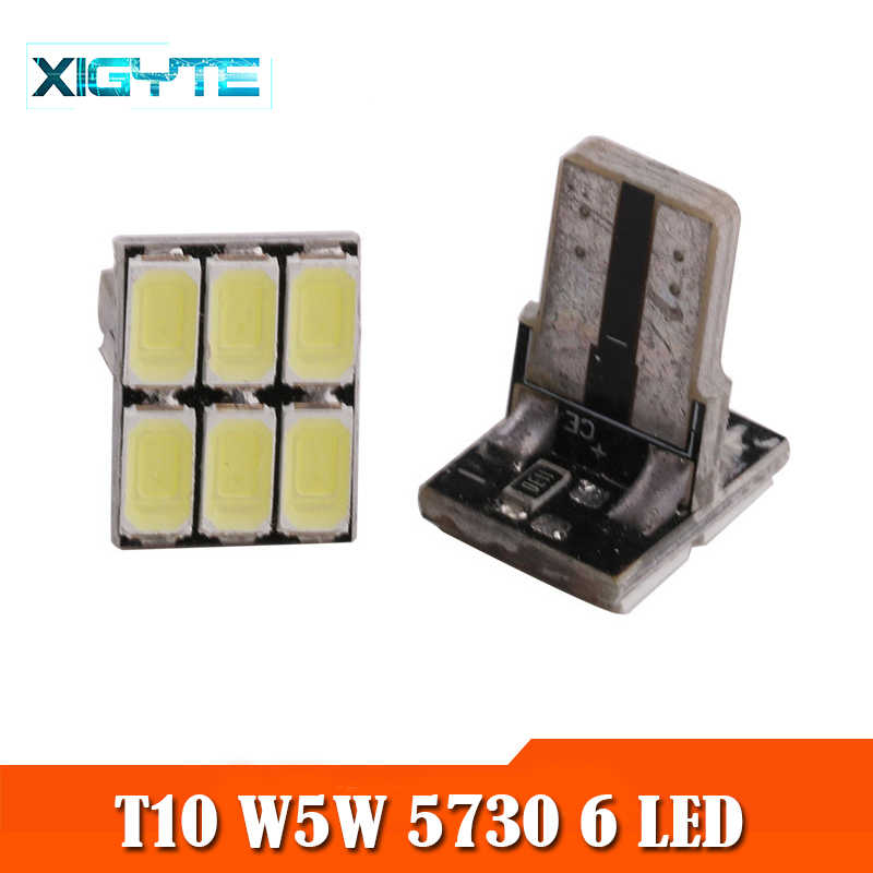 Mobil Styling Putih T10 W5W 2521 2450 6 SMD 5730 6 LED Baji Lampu Dome Membaca Bulb Mobil Clearance Backup reverse Lampu Auto DC 12V