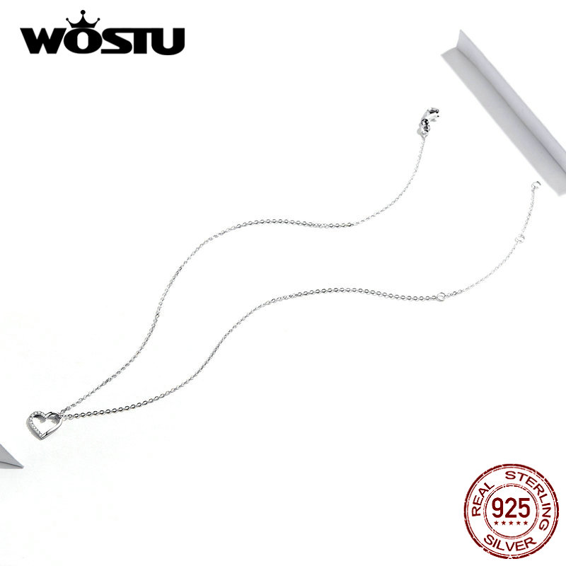WOSTU 100% Real 925 Sterling Silver The Shape Of Love Heart Necklace Mean Love Forever For Women Making Fashion Jewelry CQN347