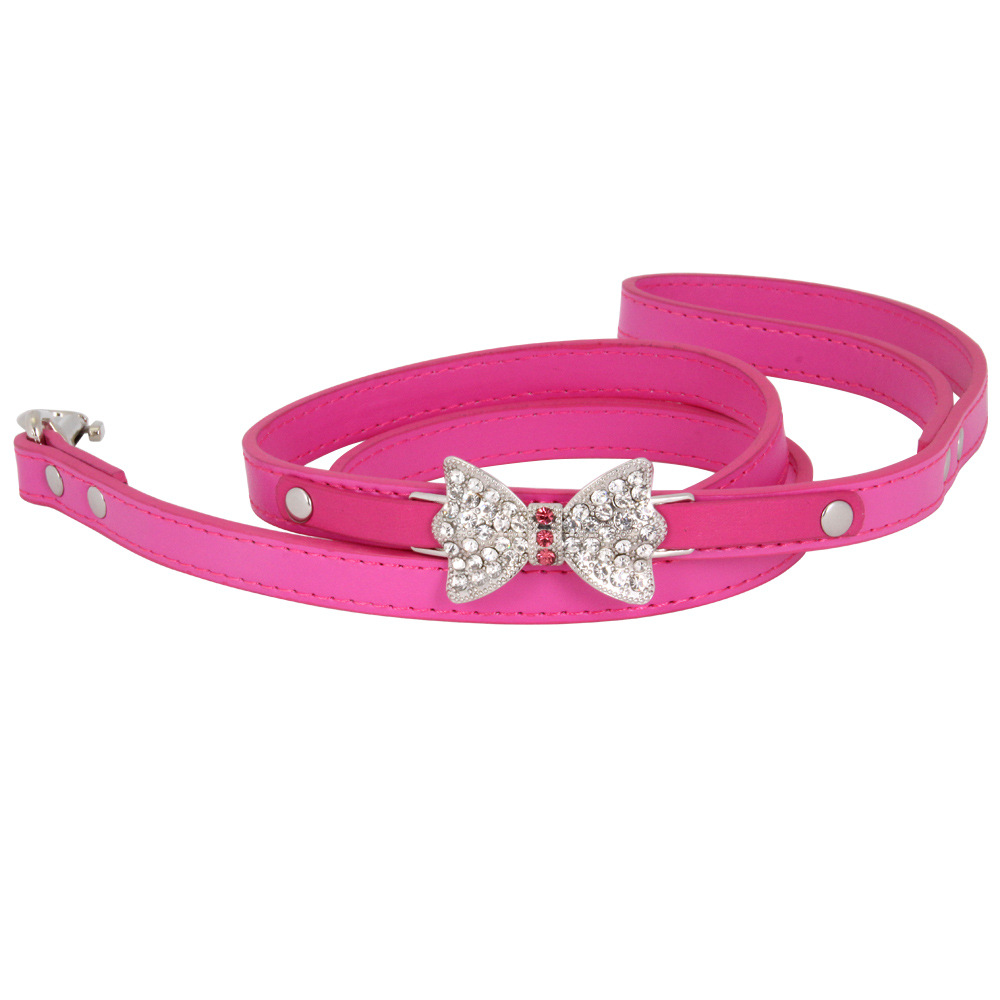 New Style Diamond PU Leather Large Bow Pet Dog Collar Pet Traction Rope