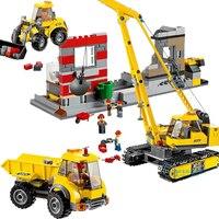 Demolition Site city 869PCS Crane Front end loader building block children toy compatible 60076 toy figures