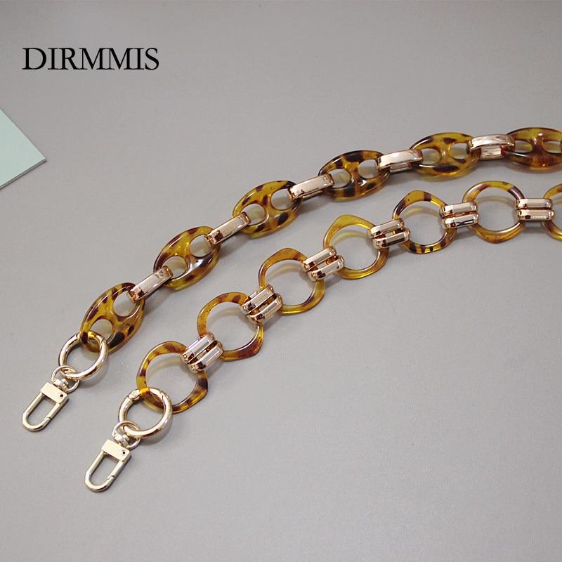 DIY New Fashion Woman Handbag Accessory Chain Detachable Replacement Acrylic Resin Leopard Amber Strap Women Clutch Purse Chain