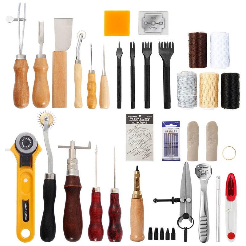 Kit d'outils pour l'artisanat du cuir, 62 pièces, Kit d'outils pour l'artisanat du cuir, poinçon de couture à la main, sculpture, selle, accessoires pour l'artisanat, Kits d'outils à main pour la maison