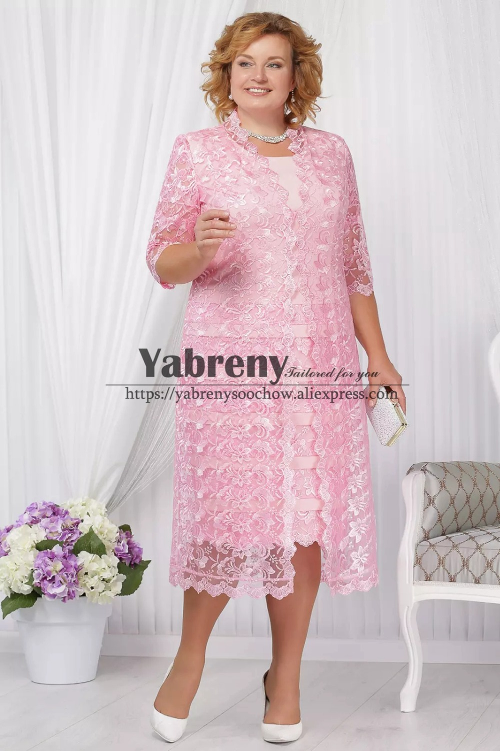 Mid-Calf Plus size Mother of the bride dress with jacket Pink lace outfit