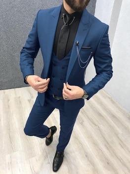 Three Piece Royal Blue Men Suits Peaked Lapel Custom Made Wedding Tuxedos Slim Fit Male Suits (Jacket + Pants + Vest+Tie) 10