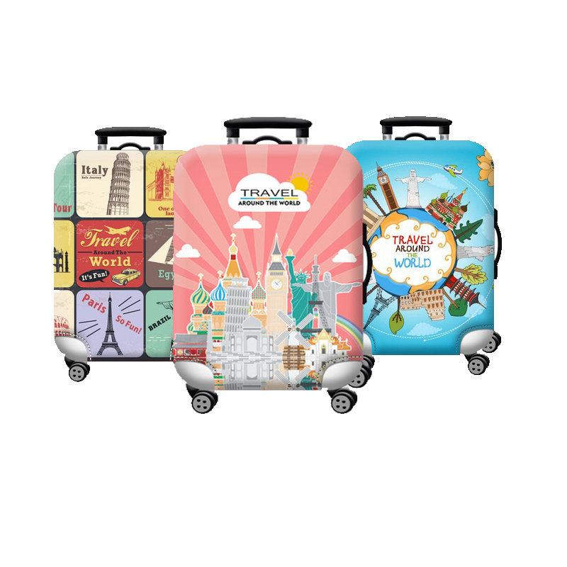 Colorful  World Map Travel Luggage Suitcase Protective Cover Trolley Baggage Bag Cover Men's Women's Elastic Case For Suitcase
