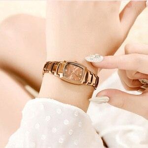 Image 3 - Năm 2020 Thời Trang Nữ Hình Chữ Nhật Mặt Đồng Hồ Thạch Anh Nữ Cao Cấp Hoa Hồng Vòng Đeo Tay Đồng Hồ Nữ Thép Không Gỉ Dây Chống Thấm Nước Đồng Hồ Nữ