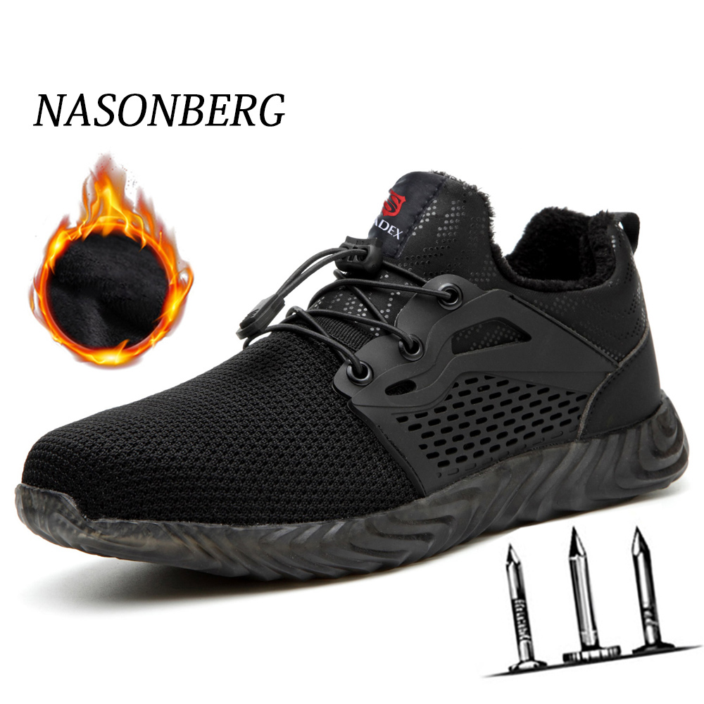 NASONBERG Men's Winter Steel Toe Cap Safety Shoes Men Outdoor Anti-slip Steel Lightweight Work Shoes Puncture Proof Men Shoes