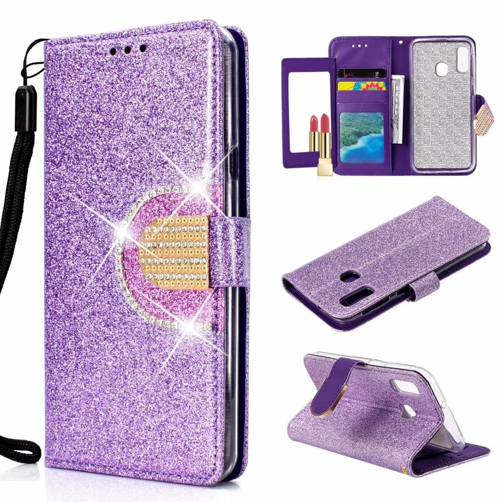Phone Case For Samsung Galaxy A70 A50 A40 A30 A10 Shining Bling Leather Soft TPU Card Slot Wallet For Samsung Galaxy M20 Cover in Rhinestone Cases from Cellphones Telecommunications