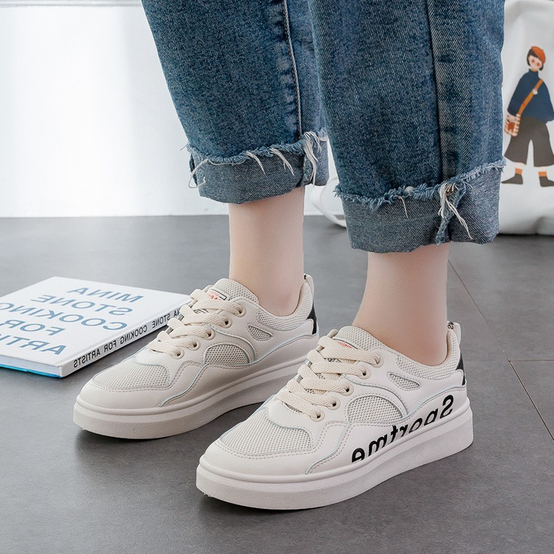 Hot Sale Vulcanized Shoes Woman Platform Women 39 s Mesh PU Leather Flat Shoes Lace Up Casual Shoes Walking Sneakers Shoes D0052 in Women 39 s Vulcanize Shoes from Shoes