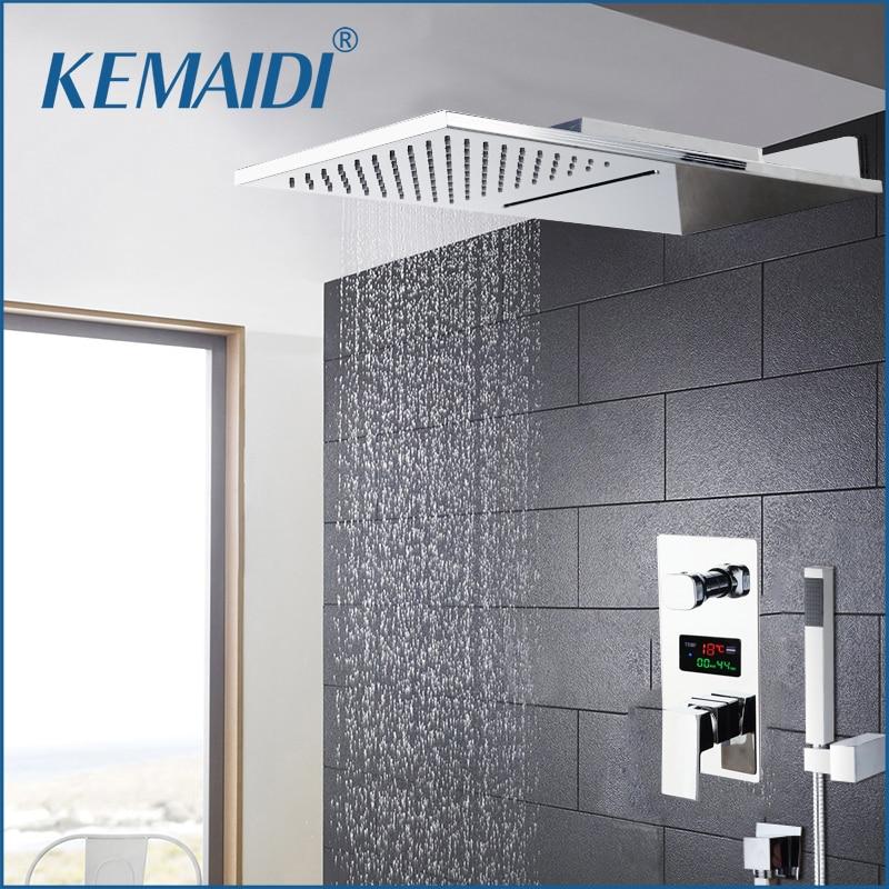 KEMAIDI Chrome Finished Shower Faucet Shower Sets Rainfall Tub Bathtub Rain Square Shower Head Waterfall Shower Faucet Set Tap