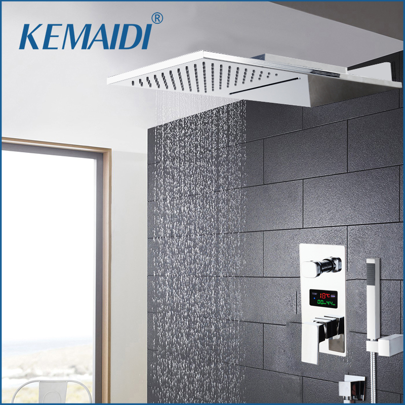 KEMAIDI Chrome Finished Shower Faucet Shower Sets Rainfall Tub Bathtub Rain Square Shower Head Waterfall Shower Faucet Set Tap