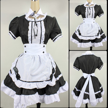 2021 Black Cute Lolita Maid Costumes French Maid Dress Girls Woman Amine Cosplay Costume Waitress Maid Party Stage Costumes
