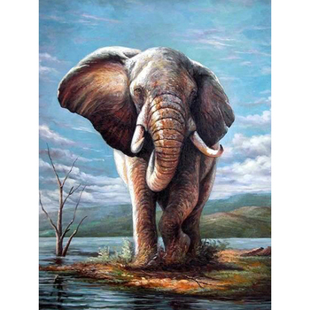 Diamond Painting Full Drill Elephant Diamond Embroidery Animal Diamond Cross Stitch Europe Home Decor Round Resin Pictures M676 image