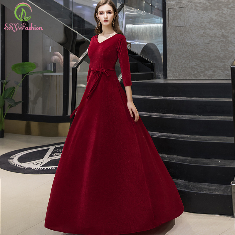 SSYFashion New Simple Velour Evening Dress Banquet Elegant V-neck 3/4 Sleeve Floor-length Long Party Formal Gown Robe De Soiree
