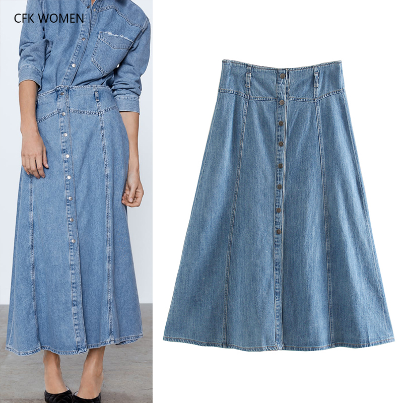 CFK Women Ankle Length Skirt Solid High Waist Cotton Dress 2019 New Autumn Blue Loose Casual Chic A-line Bottom