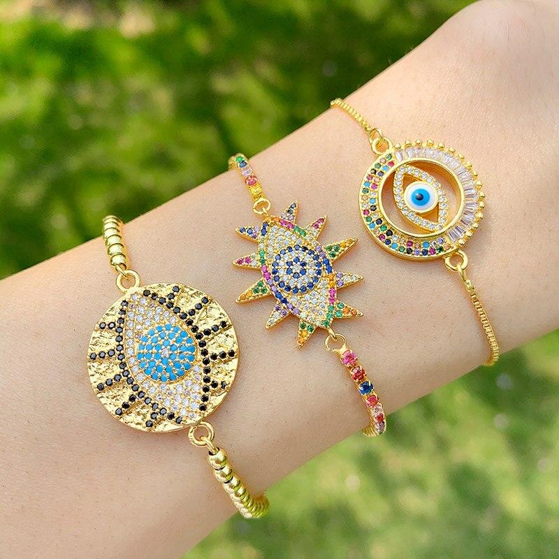 Gold CZ Blue Evil Eye Bracelets For Women Multicolor Crystal Greek Eye Bracelets Charm Rainbow Jewelry ojo turco