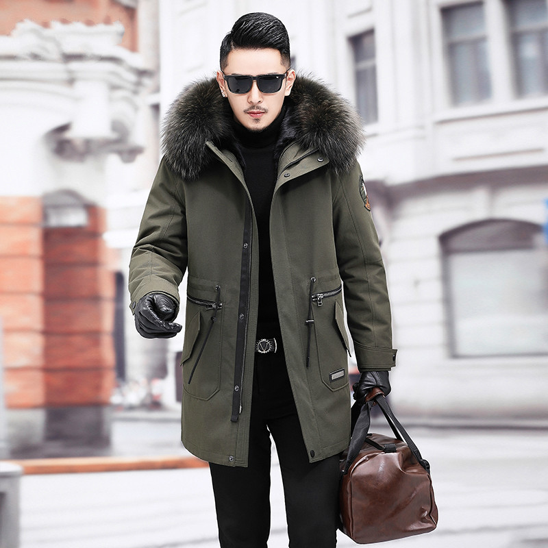 Winter Real Fur Coat Men Clothes 2020 Streetwear Warm Mink Fur Liner Long Jacket Raccoon Fur Hooded Fashion Casacos 103