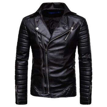 Chaquetas de Cuero de motocicleta para Hombre, chaquetas de invierno con cremallera de Cuero de imitación para Hombre, chaquetas rojas a prueba de viento, abrigos de negocios EM171