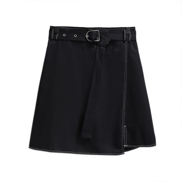 2019 autumn winter plus size mini skirt for women large casual loose elastic waist short skirts belt blue 3XL 4XL 5XL 6XL 7XL 1