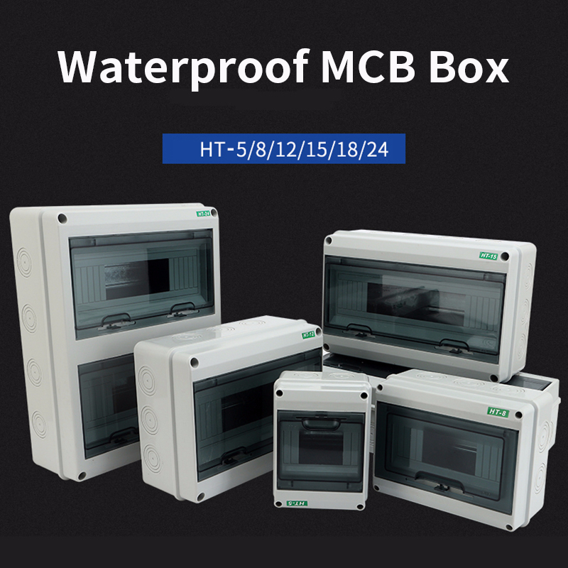 HT-5/8/12/15/18/24 Way Plastic Electrical Distribution Box Waterproof MCB Box Panel Mounted Distribution Box HT Series