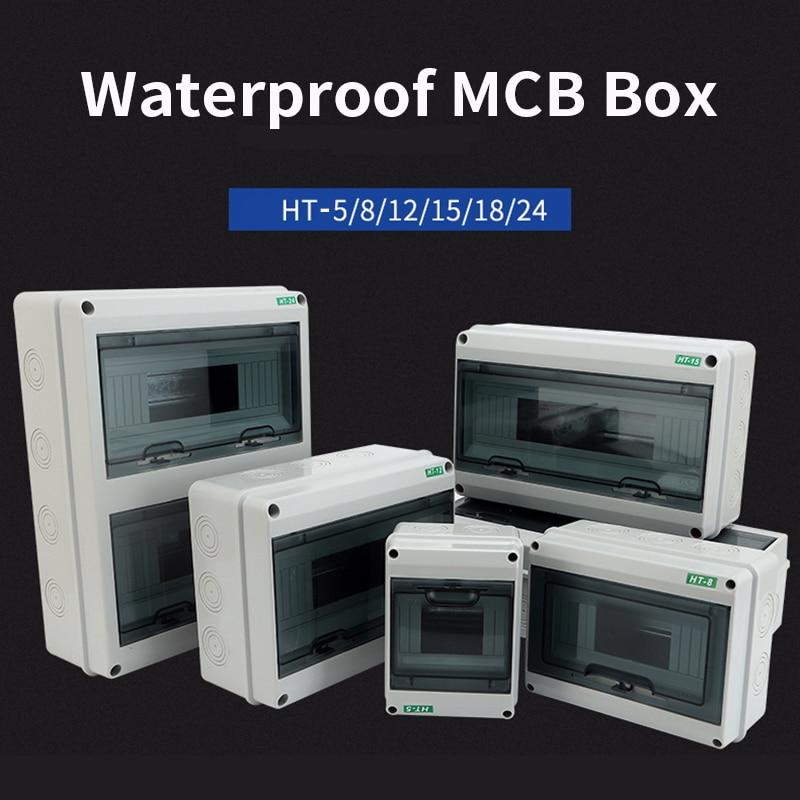 HT-5/8/12/15/18/24 Way Plastic Electrical Distribution Box Waterproof MCB Box Panel Mounted Distribution Box HT Series