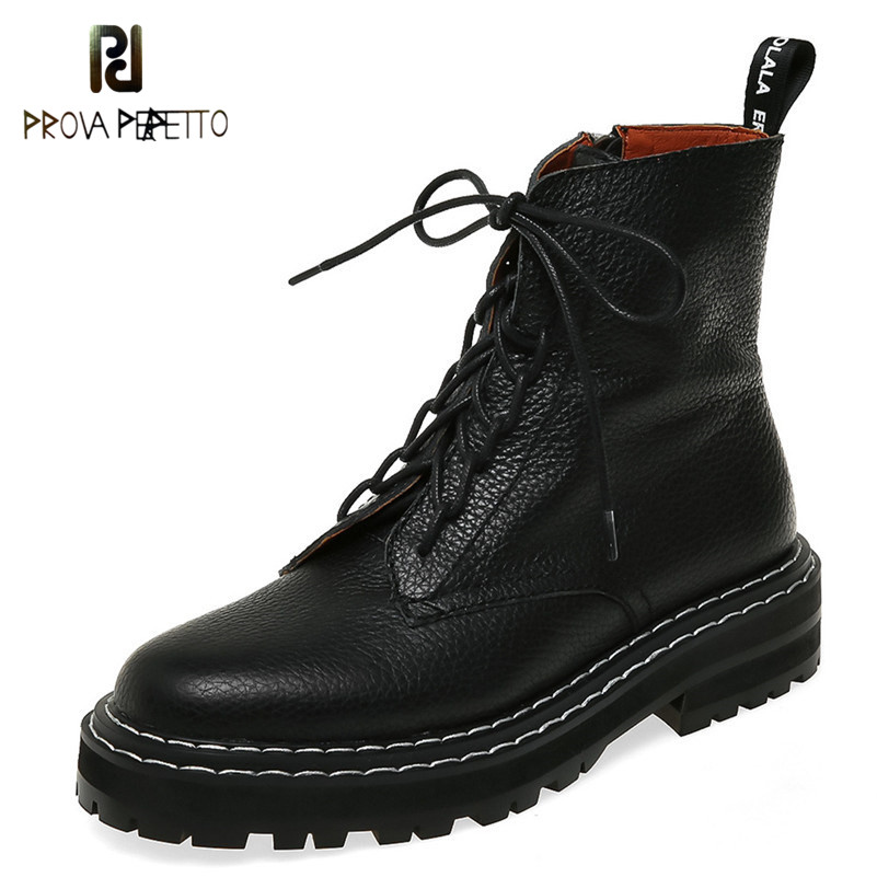 2020 Autumn Winter Quality Genuine Leather Punk Short Boots Lace Up High Heels Women Ankle Boots Party Shoes Woman