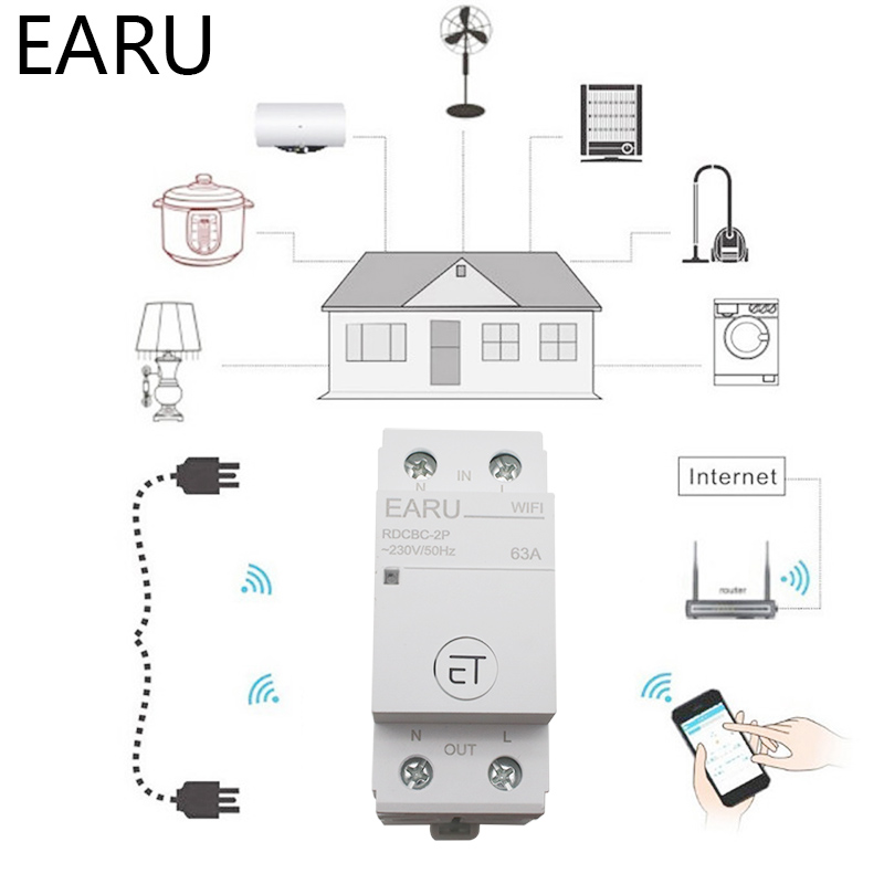 H931677a8c81543e09790a1ab9bbbe14ev - 2P Din Rail WIFI Circuit Breaker Smart Timer Switch Relay Remote Control By EWeLink APP Smart Home Compatiable With Alexa Google