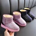 Ботинки для девочек; коллекция 2019 года; новые зимние детские ботинки; хлопковая обувь с блестящими блестками для девочек; бархатные ботинки ...
