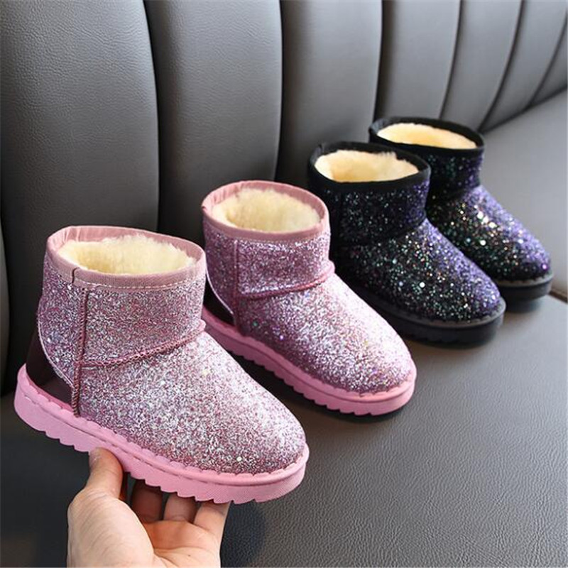 Girls Boots 2019 Winter New Children's Snow Boots Girls Bling Sequins Cotton Shoes Students Thick Velvet Boots Boys Warm Boots