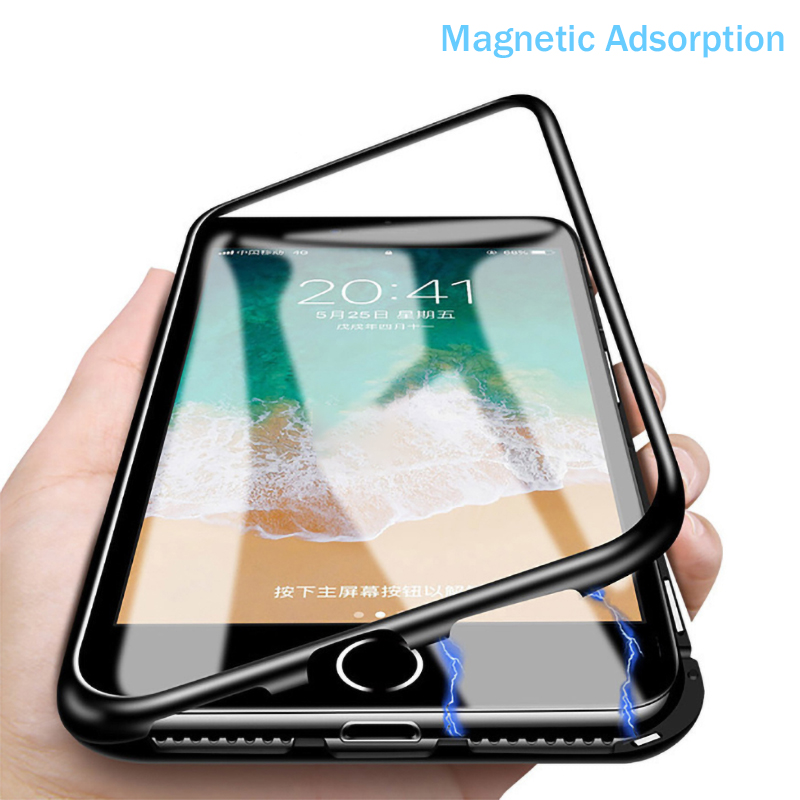 New Tempered Glass <font><b>Case</b></font> For <font><b>iPhone</b></font> <font><b>8</b></font> 7 6 6S Plus X XR XS Max Double Sided Metal <font><b>Magnetic</b></font> Adsorption Cover For Apple <font><b>iPhone</b></font> <font><b>Cases</b></font> image
