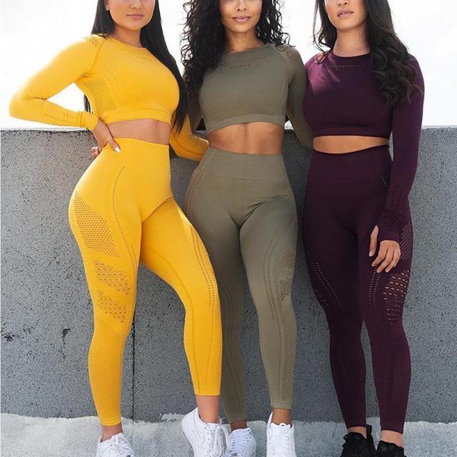 Yoga Set Naadloze Yoga Sets Vrouwen Gym Kleding Fitness Sport Past Lange Mouw Top Hoge Taille 2 Delige Set Leggings workout Set