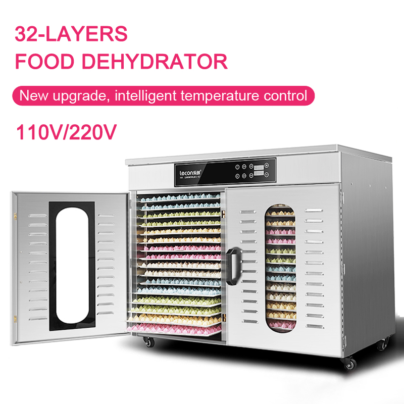 New upgrade Commercial Food Dehydrator 32-layers Drying fruit machine Stainless steel Intelligent food dryer 24h timing 110/220v