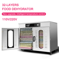 New upgrade Commercial Food Dehydrator 32 layers Drying fruit machine Stainless steel Intelligent food dryer 24h timing 110/220v