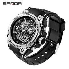 SANDA 2021 Top marka zegarki męskie 5ATM wodoodporny Sport zegarek wojskowy kwarcowy zegarek dla mężczyzn zegar Relogio Masculino 6024