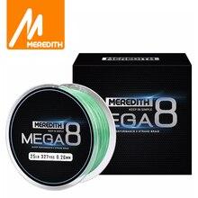 메레디스 Mega8 낚시 라인 300M 8 가닥 짜다 PE 꼰 낚시 라인 로프 Multifilament 10LB 15LB 20LB 25LB 30LB 40LB 50LB