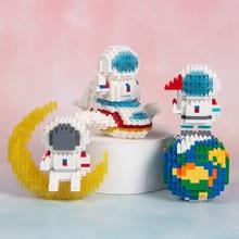 diamond Astronaut blocks Decoration Happy Planet Micro Particles Compatible Building Blocks  Educational Assembled Toys Gift