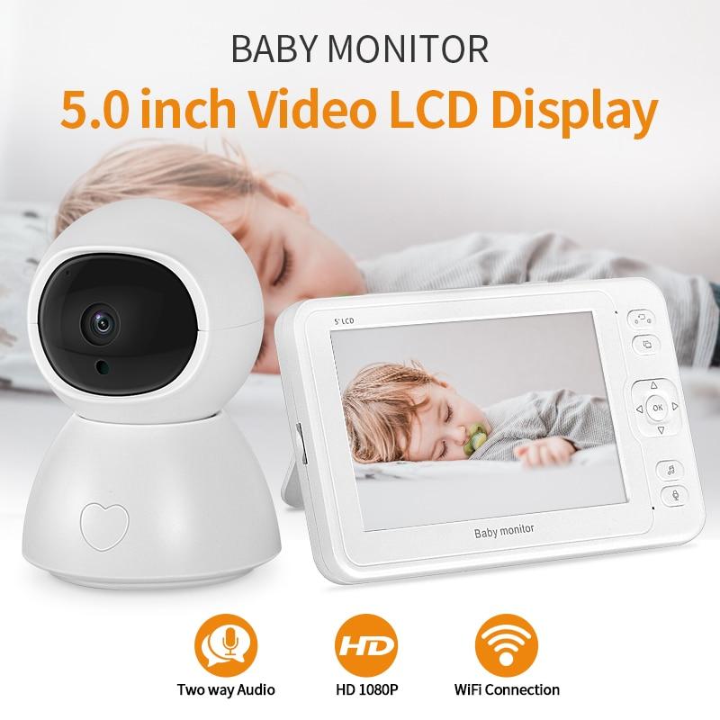 INQMEGA видеоняня 2-мегапиксельная HD с ночным видением двухполосная разговорная 5-дюймовая няня видео камера 8 колыбельных запись и воспроизвед...