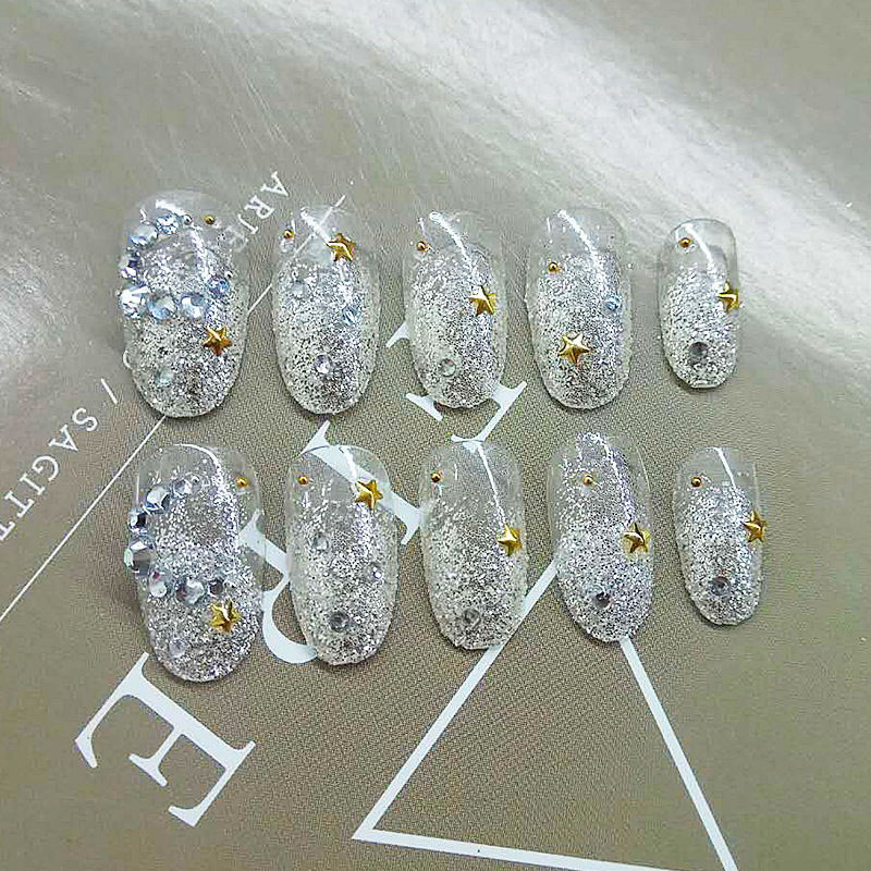 Deconstructable Nail Tips Fake Nails Stickers Manicure Finished Product Transparent Yin Shan Moon And Stars Wear Xin Niang Kuan