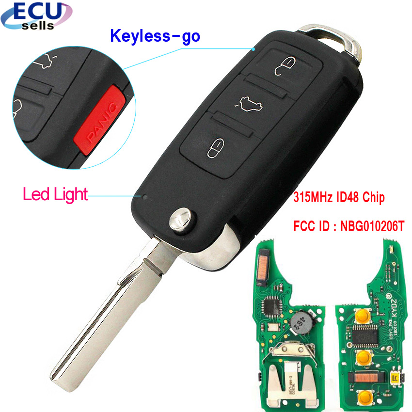 3+1 button Keyless go Remote Key 315MHz ID48 Chip Fob for Volkswagen 2011 2017 (Models with Prox) FCC ID : NBG010206T|Car Key|   - AliExpress