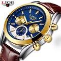 Relogio Masculino LIGE мужские часы Лидирующий бренд роскошные золотые синие спортивные часы мужские классические модные водонепроницаемые кварцев...